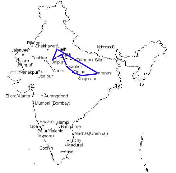 India, Itinerario 2008