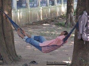 Parque de Buda, descansando en la entrada