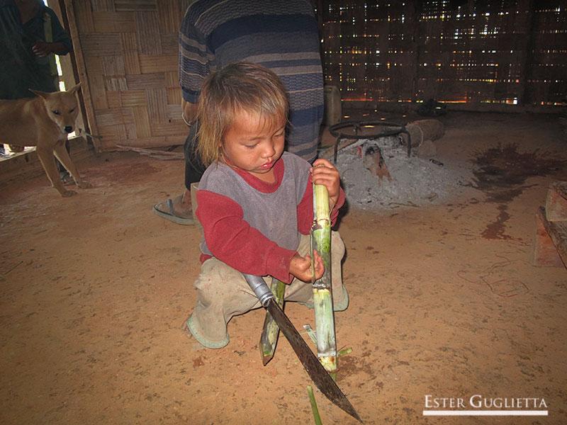 Niño con el cuchillo partiendo caña de azucar